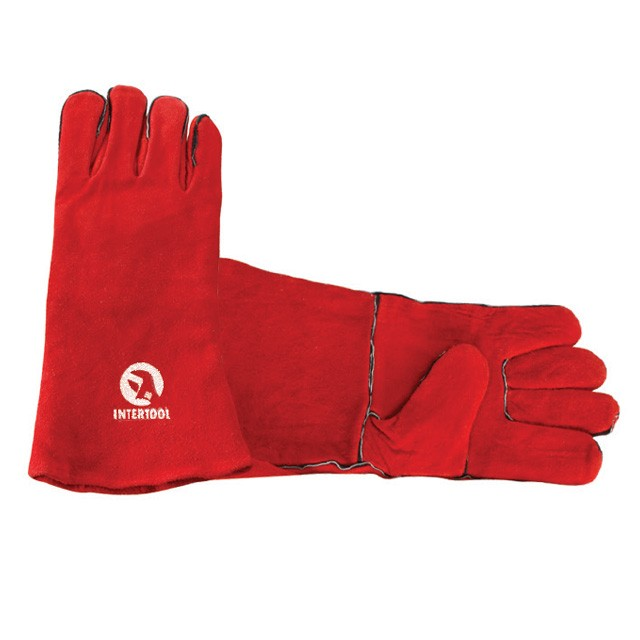 "Red cowhide split leather welders glove, 14"" INTERTOOL SP-0156"
