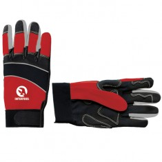 "Micro fiber glove with grey spandex between fingers and back, neoprene reinforced vulnerable zone, knuckle protected by neoprene band, elastic cuff with velcro fastener, 9"" INTERTOOL SP-0141"