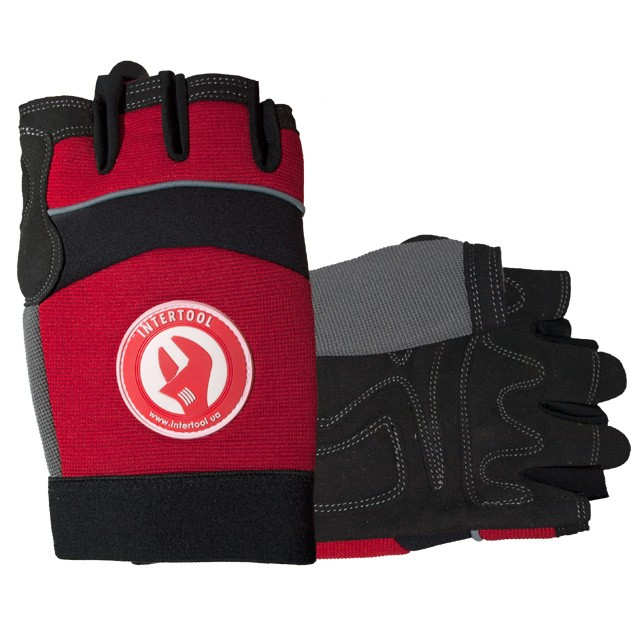 "Micro fiber glove with grey spandex between fingers and back, neoprene reinforced vulnerable zone, knuckle protected by neoprene band, elastic cuff with velcro fastener, 9"" INTERTOOL SP-0142"