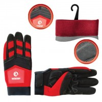 "Micro fiber glove with grey spandex between fingers and back, neoprene reinforced vulnerable zone, knuckle protected by neoprene band, elastic cuff with velcro fastener, 9"" INTERTOOL SP-0143"