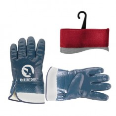 "Jersey double lining glove, fully coated with blue nitrile, safety cuff, 10,5"" INTERTOOL SP-0001"