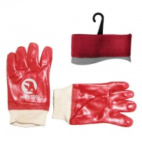 "Jersey lining working glove coated with red PVC, knitted cuff, 10,5"" INTERTOOL SP-0006"