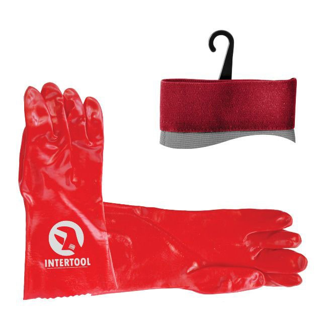 "Jersey lining working glove fully coated with red PVC, 14"" INTERTOOL SP-0007"