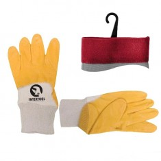 "Jersey lining glove, coated with yellow nitrile, open back, knitted calf 9"" INTERTOOL SP-0109"