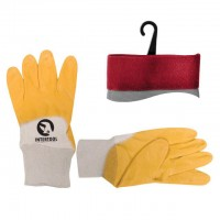 "Jersey lining glove, coated with yellow nitrile, open back, knitted calf 10"" INTERTOOL SP-0110"