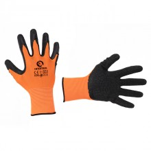"Jersey lining glove, seamless, coated with black natural latex, grey open back, knitted cuff, 10"" INTERTOOL SP-0121"