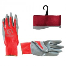 "Jersey lining glove, seamless, coated with grey nitrile, red open back, knitted cuff, 10"" INTERTOOL SP-0124"