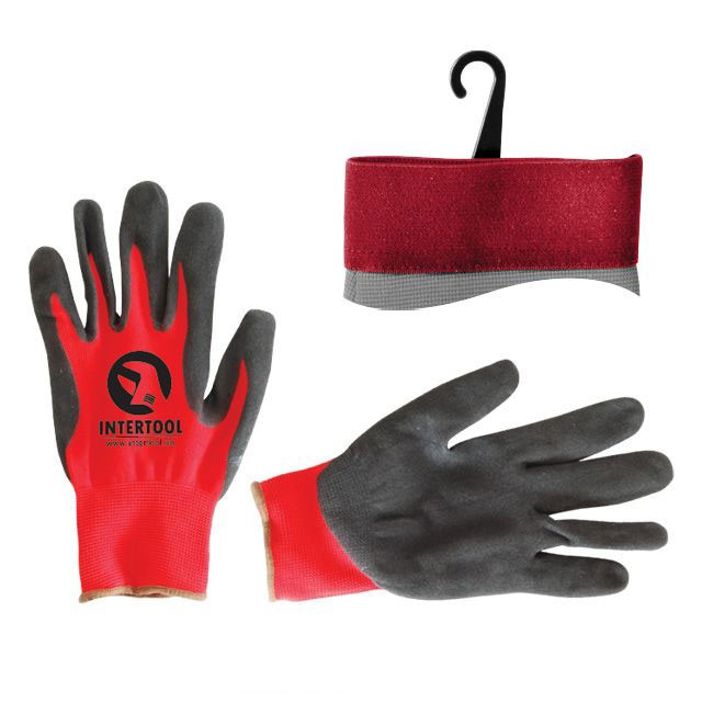 "Jersey lining glove, seamless, coated with black nitrile, red open back, knitted cuff, 10"" INTERTOOL SP-0127"
