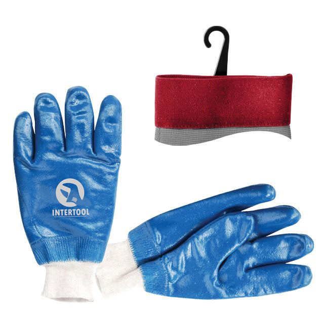 "Jersey lining glove, coated with blue nitrile, knitted cuff, 10,5"" INTERTOOL SP-0137"