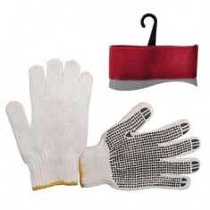 "Polycotton knitted fabric white glove, seamless, black PVC dots on palm, knitted cuff with bound seam, 9"" INTERTOOL SP-0005"