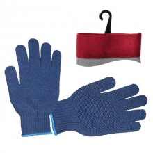 "Polycotton knitted fabric blue glove, seamless, blue PVC dots on palm, knitted cuff with bound seam, 9"" INTERTOOL SP-0104"