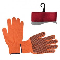 "Polycotton knitted fabric orange glove, seamless, blue PVC dots on palm, knitted cuff with bound seam, 9"" INTERTOOL SP-0131"