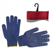 "Nylon knitted fabric blue glove, seamless, blue PVC dots on palm, knitted cuff with bound seam, 9"" INTERTOOL SP-0132"