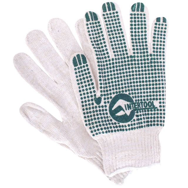 "Cotton knitted fabric white glove, seamless, green PVC dots on palm, knitted cuff with bound seam, 9"" INTERTOOL SP-0133"
