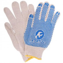 "Cotton knitted fabric white glove, seamless, blue PVC dots on palm, knitted cuff with bound seam, 9"" INTERTOOL SP-0134"