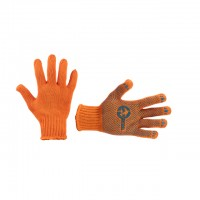 "Polycotton knitted fabric orange glove, seamless, black PVC dots on palm, knitted cuff with bound seam, 9"" INTERTOOL SP-0135"