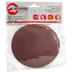 Velcro sanding disc 125 mm, K400, 10 pcs. pack INTERTOOL BT-0540: фото 2