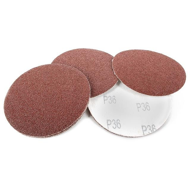 Velcro sanding disc 125 mm, 8 holes, K36, 10 pcs. pack INTERTOOL BT-0552