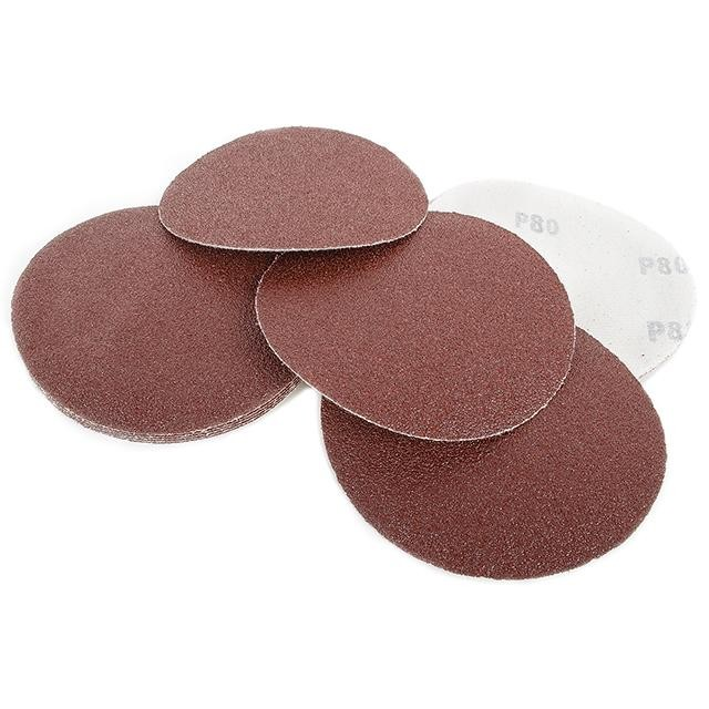 Velcro sanding disc 125 mm, 8 holes, K80, 10 pcs. pack INTERTOOL BT-0558