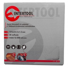 Saw blade for wood, carbide tipped 125x22x1.4 mm , 30 teeth INTERTOOL CT-3013: фото 4