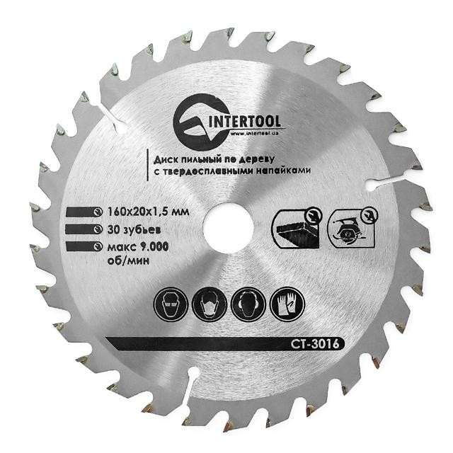 Saw blade for wood, carbide tipped 160x20x1.5 mm , 30 teeth INTERTOOL CT-3016