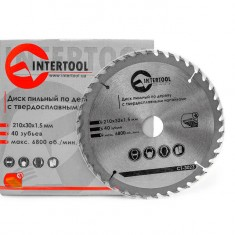 Saw blade for wood, carbide tipped 210x30x1.5 mm , 40 teeth INTERTOOL CT-3023: фото 3
