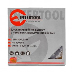 Saw blade for wood, carbide tipped 210x30x1.5 mm , 40 teeth INTERTOOL CT-3023: фото 4