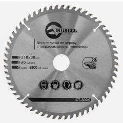 Saw blade for wood, carbide tipped 210x30x1.5 mm , 60 teeth INTERTOOL CT-3024
