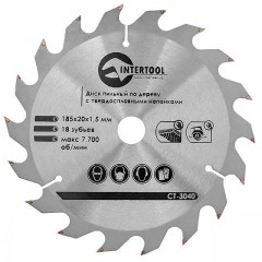 Saw blade for wood, carbide tipped 185x20x1.5 mm , 18 teeth INTERTOOL CT-3040