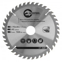 Saw blade for wood, carbide tipped 190x30x1.5 mm , 40 teeth INTERTOOL CT-3041