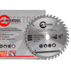 Saw blade for wood, carbide tipped 180x22x1.5 mm , 40 teeth INTERTOOL CT-3043: фото 3