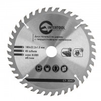 Saw blade for wood, carbide tipped 180x22x1.5 mm , 40 teeth INTERTOOL CT-3043