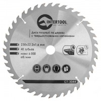 Saw blade for wood, carbide tipped 230x22x1.6 mm , 40 teeth INTERTOOL CT-3044