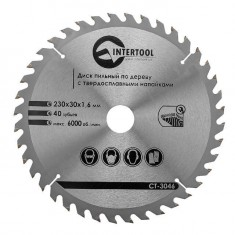 Saw blade for wood, carbide tipped 230x30x1.6 mm , 40 teeth INTERTOOL CT-3046