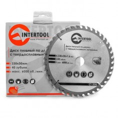 Saw blade for wood, carbide tipped 230x30x1.6 mm , 40 teeth INTERTOOL CT-3046: фото 2