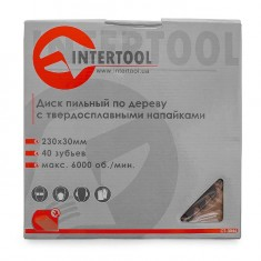 Saw blade for wood, carbide tipped 230x30x1.6 mm , 40 teeth INTERTOOL CT-3046: фото 3
