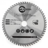 Saw blade for wood, carbide tipped 230x30x1.6 mm , 60 teeth INTERTOOL CT-3047