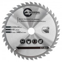 Saw blade for wood, carbide tipped 250x30x1.7 mm , 40 teeth INTERTOOL CT-3051