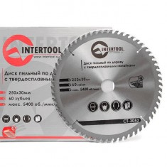 Saw blade for wood, carbide tipped 250x30x1.7 mm , 60 teeth INTERTOOL CT-3052: фото 3