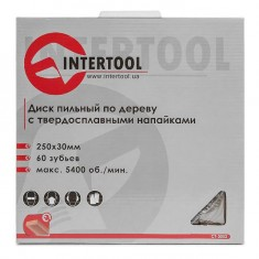 Saw blade for wood, carbide tipped 250x30x1.7 mm , 60 teeth INTERTOOL CT-3052: фото 4