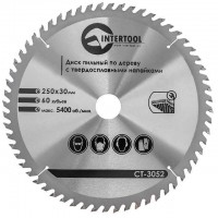 Saw blade for wood, carbide tipped 250x30x1.7 mm , 60 teeth INTERTOOL CT-3052