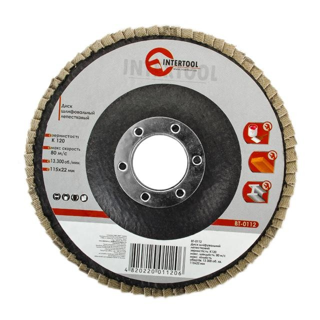 Flap disc 115 mm x 22, K120 INTERTOOL BT-0112