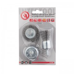 "Wire brush set for hand drill, 3 pcs., 1/4"" INTERTOOL BT-0300"