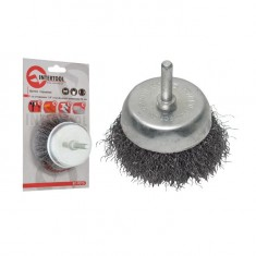 "Cup brush 50 mm for hand drill, 1/4"" (crimped wire) INTERTOOL BT-9050"