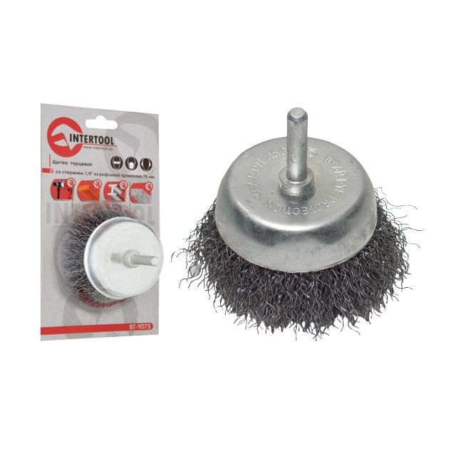 "Cup brush 75 mm for hand drill, 1/4"" (crimped wire) INTERTOOL BT-9075"