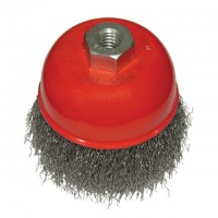Cup brush 75 mm, for angle grinder, M14 (crimped wire) INTERTOOL BT-1075