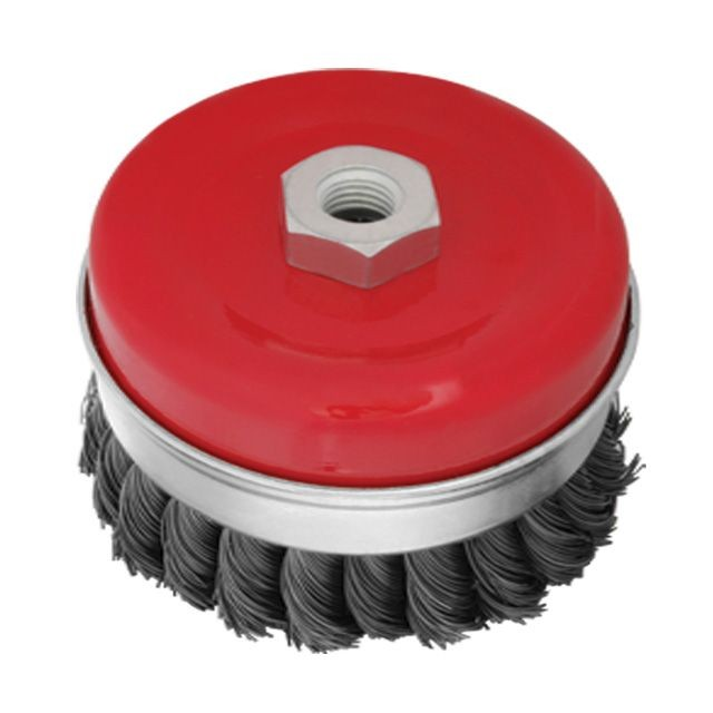 Cup brush 80 mm, for angle grinder, heavy duty, M14 (twisted wire) INTERTOOL BT-1080
