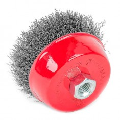 Cup brush 100 mm, for angle grinder, M14 (crimped wire) INTERTOOL BT-1100: фото 6