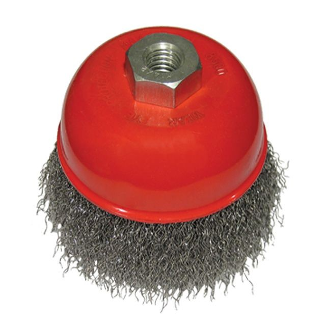 Cup brush 125 mm, for angle grinder, M14 (crimped wire) INTERTOOL BT-1125