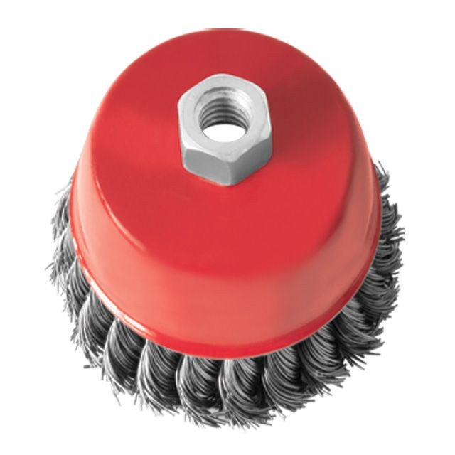 Cup brush 85 mm, for angle grinder, M14 (twisted wire) INTERTOOL BT-2085